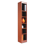 "Alera Wood Veneer 6-Shelf Narrow Profile Bookcase, Finished Back, 12"" x 12"" x 72"", Medium Oak"