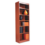 "Alera Wood Veneer 6-Shelf Narrow Profile Bookcase, Finished Back, 24"" x 12"" x 72"", Medium Oak"