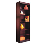 "Alera Wood Veneer 6-shelf Narrow Profile Bookcase, Finished Back, 24"" x 12"" x 72"", Mahogany"