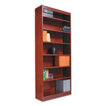 "Alera Wood Veneer 6-Shelf Square Corner Bookcase, Finished Back, 36w"" x 12d"" x72""h, Cherry"