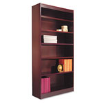 "Alera Wood Veneer 6-Shelf Square Corner Bookcase,Finished Back, 36"" x 12"" x 72"", Mahogany"