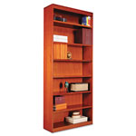 "Alera Wood Veneer 7-Shelf Square Corner Bookcase, Finished Back, 36"" x 12x 84"", Cherry"