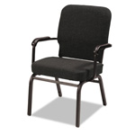 Alera Oversize Stack Chair with Arms, Black Fabric Upholstery, 2/Carton