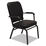 Alera Oversize Stack Chair with Arms, Black Antimicrobial Vinyl Upholstery, 2/Carton