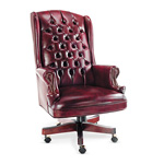 Alera Traditional Series Wing Back Swivel/Tilt Chair, Mahogany Finish, Oxblood Vinyl