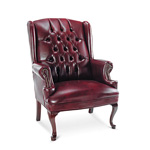 Alera Traditional Series Wing Back Guest Chair, Mahogany Finish, Oxblood Vinyl