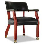 Alera Traditional Series Guest Arm Chair w/Casters, Mahogany Finish/Black Vinyl