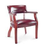 Alera Traditional Series Guest Arm Chair, Mahogany Finish, Oxblood Vinyl