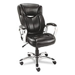 Alera Carrera High Back Swivel/Tilt Leather Chair, Black/Aluminum