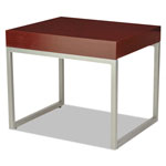 Alera Occasional End Table, 23 5/8w x 20d x 20h, Mahogany/Silver