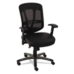 Alera Eon Series Multifunction Mid-Back Leather/Mesh Chair, Black