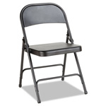 Alera Steel Folding Chair, Graphite, 4/Carton