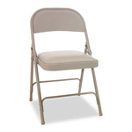 Alera Steel Folding Chairs with Vinyl Padded Seat, Tan