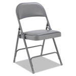 Alera Steel Folding Chair With Padded Back/Seat, Light Gray, 4/Carton