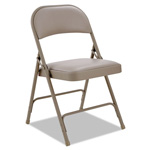Alera Steel Folding Chair With Padded Back/Seat, Tan, 4/Carton