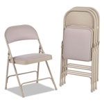 Alera Steel Folding Chair with Two-Brace Support, Fabric Back/Seat, Tan, 4/Carton