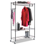 Alera Wire Shelving Garment Rack, Black, Steel, Stand Alone Rack, Five Hooks