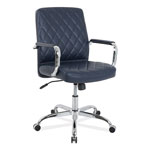 Alera Mid-Back Diamond-Embossed Leather Office Chair, Navy Blue Seat, 275lb Capacity