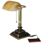 "Alera Banker's Lamp, 2 Prong, 15""High, Antique Brass"