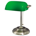 "Ledu Traditional Incandescent Banker's Lamp, Green Glass Shade, 14""h, Brass Base"