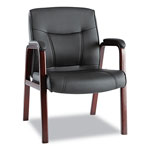Alera Madaris Leather Guest Chair w/Wood Trim, Four Legs, Black/Mahogany