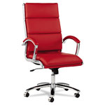 Alera Neratoli High-Back Swivel/Tilt Chair, Red Soft-Touch Leather, Chrome Frame
