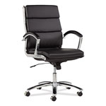 Alera Neratoli Mid-Back Swivel/Tilt Chair, Black Soft-Touch Leather, Chrome Frame