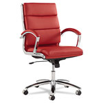 Alera Neratoli Mid-Back Swivel/Tilt Chair, Red Soft-Touch Leather, Chrome Frame