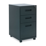 Alera Three Drawer Mobile File Pedestal, 15 7/8w x 28 1/4h x 19 3/4d, Black