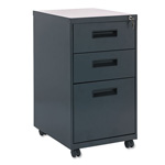 Alera Three Drawer Mobile File Pedestal, 157/8w x 281/4h x 193/4d, Charcoal