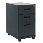 Alera Three Drawer Mobile File Pedestal, 15 7/8w x 28 1/4h x 23 1/4d, Black