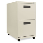 Alera Two Drawer Mobile Pedestal File, 15 7/8w x 28 1/4h x 23 1/4d, Putty