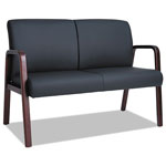 Alera Reception Lounge Series Wood Loveseat, 44 7/8 x 26 x 33 1/4, Black/Mahogany