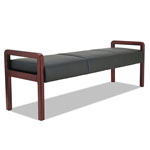 Alera Reception Lounge WL Series Bench, 65 3/4 x 22 1/4 x 22 7/8, Black/Mahogany