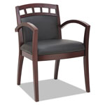 Alera Reception Lounge 500 Series Arch Back Cut-Out Wood Chair, Mahogany/Black Leather