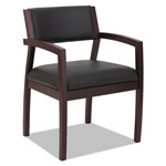 Alera Reception Lounge 500 Series Half Back Wood Guest Chair, Mahogany/Black Leather