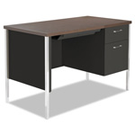 Alera Single Pedestal Steel Desk, Walnut/Black