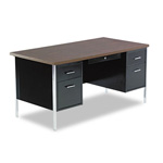 Alera Double Pedestal Steel Desk, Walnut/Black