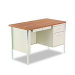 Alera Double Pedestal Steel Desk, Oak/Putty