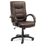 Alera Strada Series High-Back Swivel/Tilt Chair with Brown Leather Upholstery
