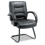 Alera Strada Series Guest Chair with Black Leather Upholstery