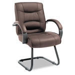 Alera Strada Series Guest Chair with Brown Leather Upholstery