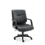 Alera Stratus Series Leather Mid Back Swivel/Tilt Chair, Black