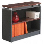 "Alera Cherry/Charcoal Seville Series Bookcase with 2 Shelves, 36""w x 15""d x 30""h"