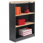 "Alera Maple/Charcoal Seville Series Bookcase with 3 Shelves, 36""w x 15""d x 48""h"