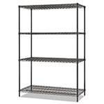 Alera All-Purpose Wire Shelving Starter Kit, 4-Shelf, 48 x 24 x 72, Black Anthracite+