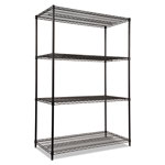 "Alera Wire Shelving Starter Kit, 48"" x 24"", 4 Shelves, Black"