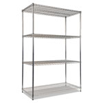 "Alera Industrial Wire Shelving Starter Kit, 48"" x 24"", 4 Shelves, Silver"