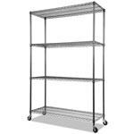 Alera Complete Wire Shelving Unit w/ Caster, 4-Shelf, Black Anthracite