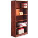 Alera Valencia Series Bookcase/Storage Cabinet, 5 Shelves, 32w x 12d x 66h, Medium Cherry